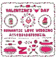 Romantic setHeart decorationletteringlabels vector image