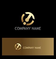 round shape technology arrow gold logo vector image