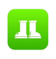 Rubber garden boots icon green vector