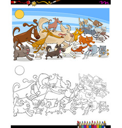 Running dogs and cats characters color book vector
