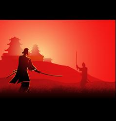 Samurai duel vector