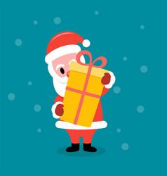 santa claus holding a big gift box vector image