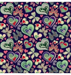 Seamless valentine pattern with colorful vintage vector image