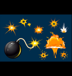 set bomb explosion effect bomb boom vector image