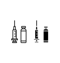 Set icon syringe and vial ampoules with vector