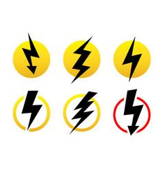 set icons black lightning bolt collection vector image