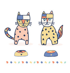 set of 2 hand drawn geometric cats vector image