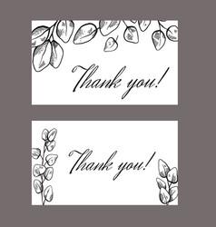 Set thank you card with sketch eucalyptus vector