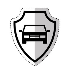 Shield insurance with car isolated icon vector