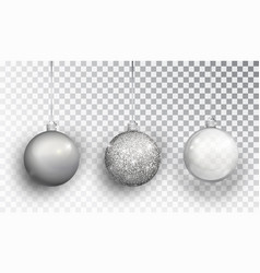 silver christmas tree toy set isolated on a vector image