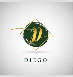 Simple elegance initial letter d gold logo type vector