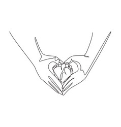 Single one line drawing babys foot hold vector