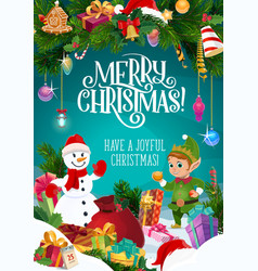 snowman christmas elf xmas gifts and presents vector image