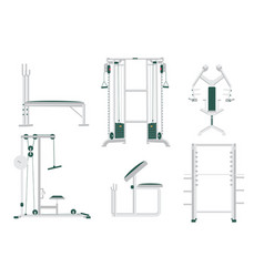 Sport gym club equipment set isolated on white vector