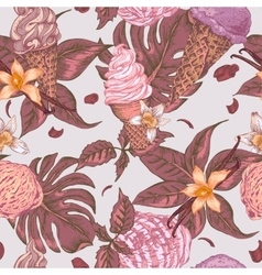 Summer fruit ice cream seamless background vector image