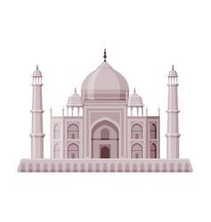 Taj mahal as famous city landmark and travel and vector