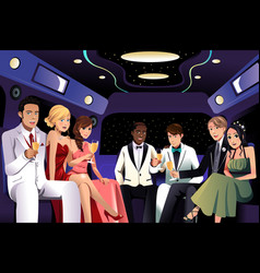 Teenagers going to a prom party in a limousine vector