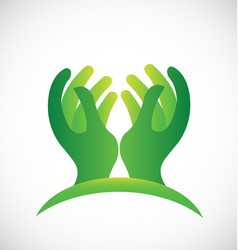 The hands of hope icon green symbol vector