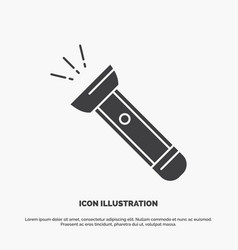 Torch light flash camping hiking icon glyph gray vector