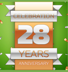 twenty eight years anniversary celebration design vector image