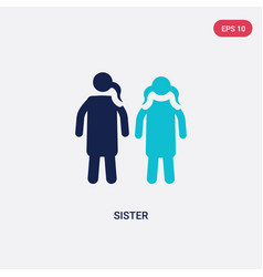 Two color sister icon from family relations vector