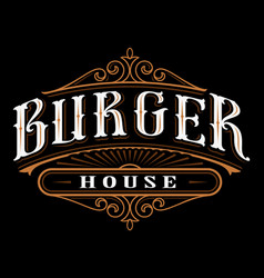 vintage label of burger vector image