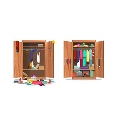 Wardrobe before and after organization vector