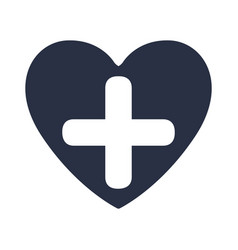 White background with dark blue heart and cross vector