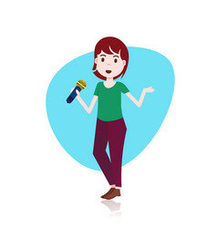 Woman character holding microphone toastmaster vector