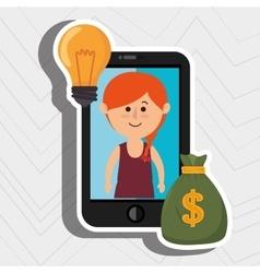 Woman smartphone bag money vector