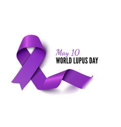World lupus day purple ribbon realistic vector