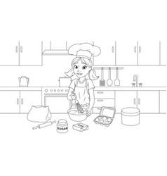 young girl prepares a cake vector image