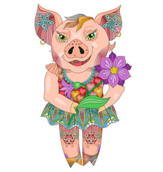 zentangle drawing pig with flower for decoration vector image