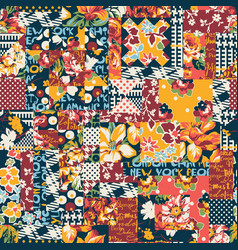 abstract floral polka plaid patchwork wallpaper vector image