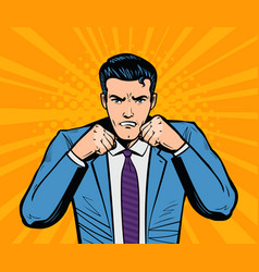 aggressive businessman or super hero with fists vector image