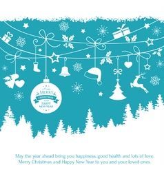 Blue monochrome Christmas ornaments fir vector image vector image