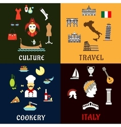 Italy landmarks culture ans cuisine flat icons vector image