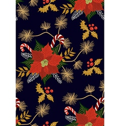 Poinsettia flower pattern vector image