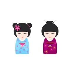 with Japanese Kokeshi Dolls vector image