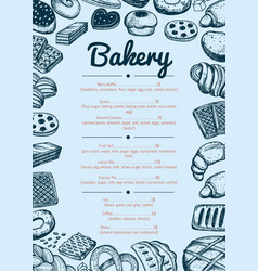 bakery hand drawn cafe menu template vector image vector image