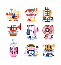 colorful logos set for jazz festival or live vector image vector image