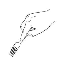 hand holding a fork on white background vector image vector image