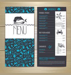 Seafood cafe menu design Document template vector image