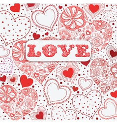 Vintage Love Hearts Pattern vector image vector image