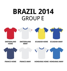 World Cup Brazil 2014 - group D teams jerseys vector image