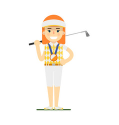 young woman golfer with golf club vector image vector image