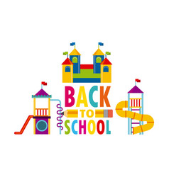 Beautiful children playground with back to school vector