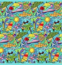 Doodle summer beach seamless pattern vector