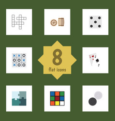 flat icon play set of xo ace guess and other vector image vector image