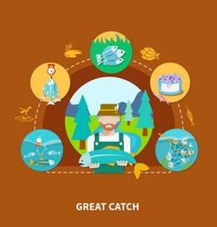 Big fish strike composition vector